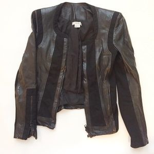 HELMUT LANG Black Leather Panel Jacket P/Small